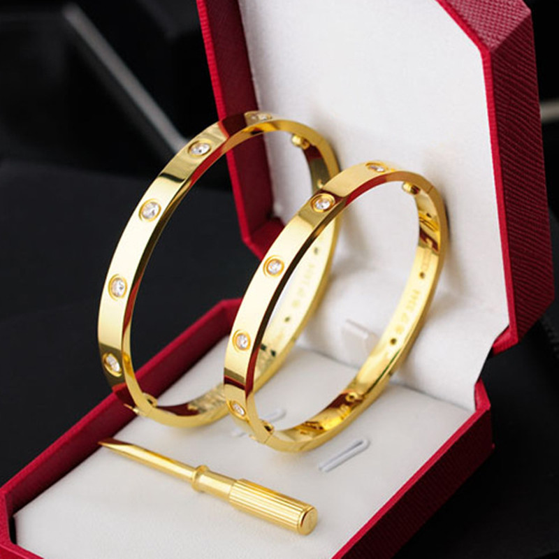 New version 10 stones carter Love Bracelets Bangles With Screwdriver Lovers wedding gift gold stainless Pulseira feminina