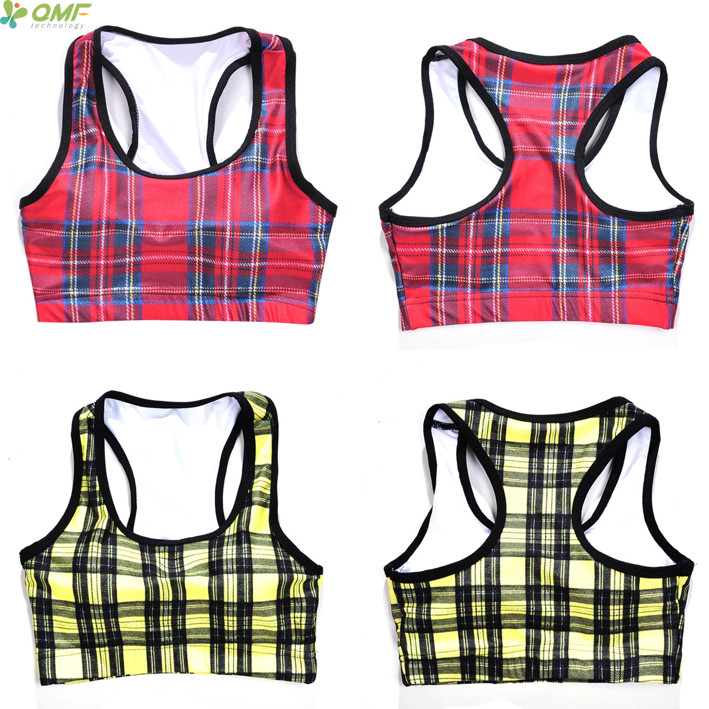 0bd81dfe37bfd Red Plaids Tartan Design Sports Running Bras Yellow Gold Gingham Plaid Yoga  Bras Women Fitness Check Pattern Bra Padded