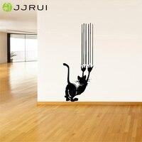 JJRUI Wall Decor Art Vinyl Sticker Decal Animal Bonito Gato Gatinho Arranhando De Parede para o Quarto, Sala de Estar Preto 21.3x55.9in
