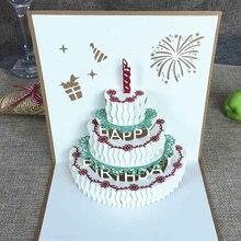 1 Uds. Tarjetas de felicitación Pop Up 3D hechas a mano Vintage Feliz cumpleaños tarjeta para pastel de regalo con sobre postal invitación decoración de aniversario