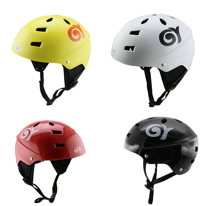 GY best selling kayak helmet with black/white/yellow/red color,Applicable to water sports. black kayak boating water sports helmet abs out shell prefessional water skiing helmet