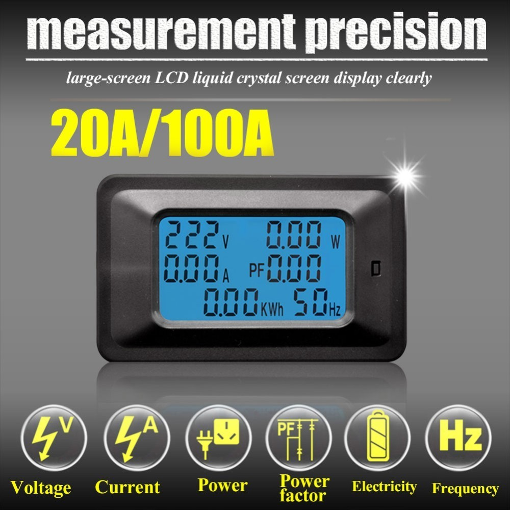 Multi-Function Digital AC Voltage Meter Power Monitor Indicator Power Energy Voltmeter English Version 20A / 100A
