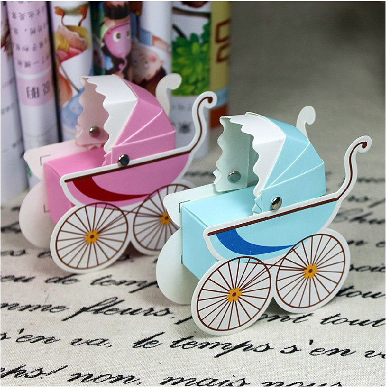 Baby Carriage Favor Candy Box For Baby Shower Newborn