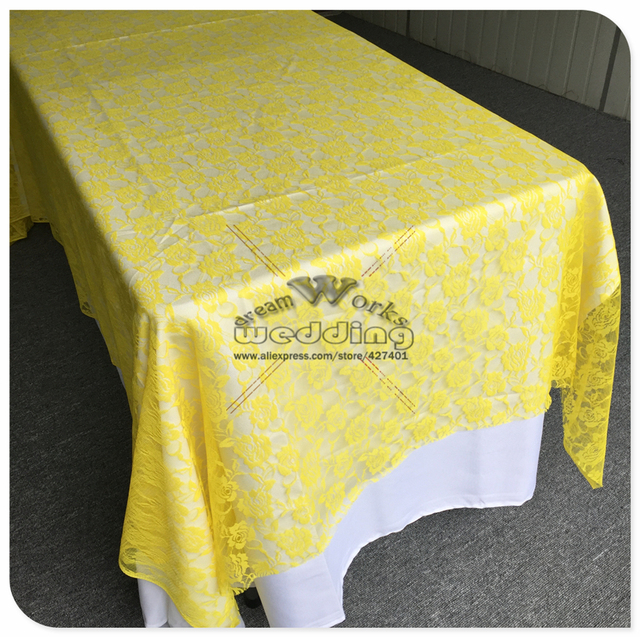 Factory Direct Sales Yellow Color Lace Table Cloth Rectangular Tablecloths  For Wedding Banquet Hotel Party Supplie