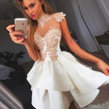 New Fashion 2019 Homecoming Party Dresses A-line High Collar Cap Sleeves Short Mini Lace Cocktail Dresses Banquest Dress