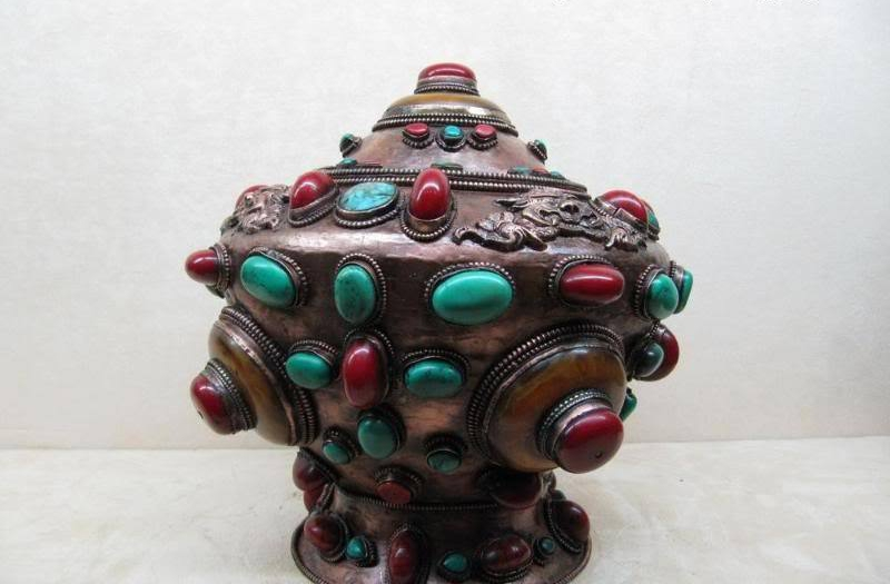 9Tibet Copper Bronze inlay turquoise coral Gem crock Pot Vase 8.029Tibet Copper Bronze inlay turquoise coral Gem crock Pot Vase 8.02