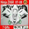 High Quality Fairings For 2007 2008 Motorcycle Kawasaki ZX6R Fairing Kits 07 08 White Black 7
