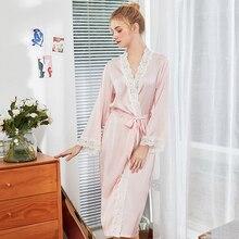 Wasteheart Spring Pink Purple Women Fashion Sexy Robes Sleepwear Nightwear Faux Silk Lace Woven Plus Size Long Bathrobe Pajama