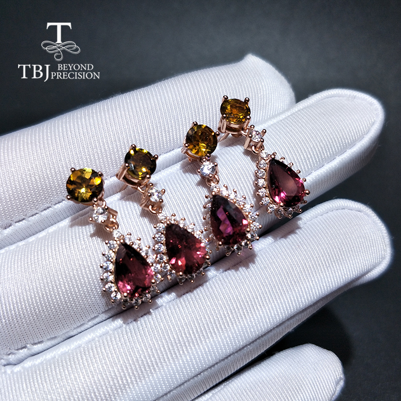 TBJ new natural water drop multicolor tourmaline gemstone Shiny earring 925 sterling silver jewelry for women