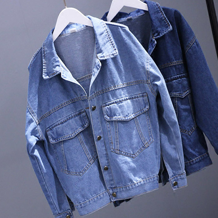 Women Coats 2017 Spring Casual Loose Denim Jacket Female Batwing <font><b>Sleeve</b></font> Single Breasted Pockets BF <font><b>Jeans</b></font> Jacket Coat Z789