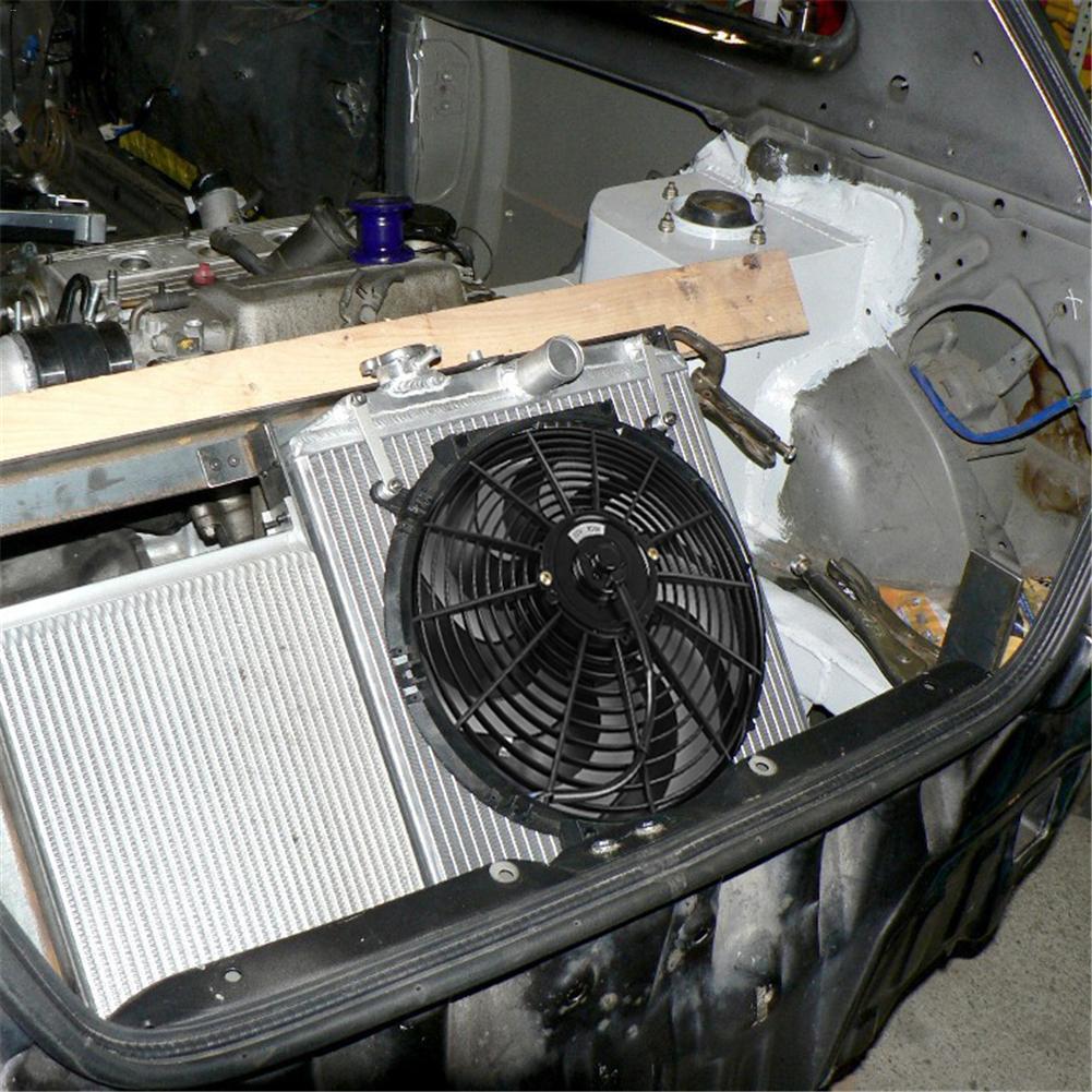 Вентилятор автомобиля DC12V 90 Вт Push-Pull изгиб черный клинок Электрический охлаждающий вентилятор радиатора для багги мотоцикл охладитель легк...