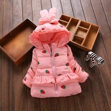 Angela&Alex Winter Baby Girls Warm Down Jackets New Fashion Thicken Cotton Cute Kids Hoodies Jackets Princess Clothings
