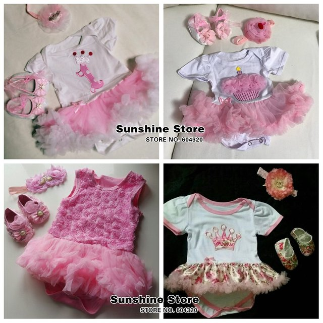 First Birthday Girl Tutu Set Newborn Clothing Ruffle Baby Clothes Baby Girl Christening Gowns Party Dress Headband Shoes Set 4