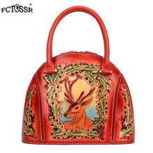 New Shell Deer Print fashion lady handbag vintage china style female Top-Handle bag leather handmade carving zipper women tote