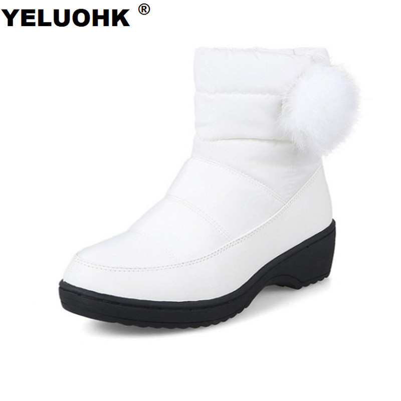 Large Size 43 Down Waterproof Snow Boots Women With Fur Warm Ankle Boots For Women Winter Shoes Platform Women High Boots