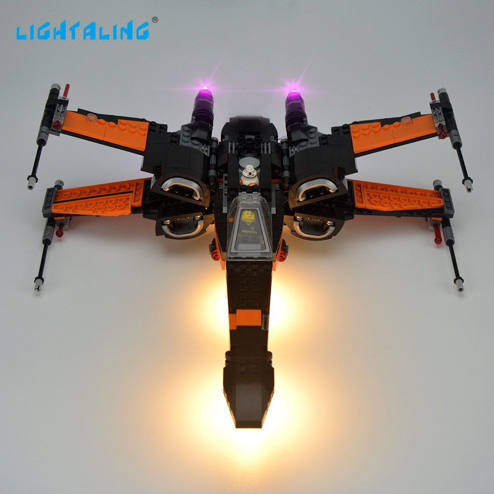 Lightaling LED Light Set För Berömt Märke 75102 Star Wars Poe X-Wing Fighter Modell Kit Block Toy