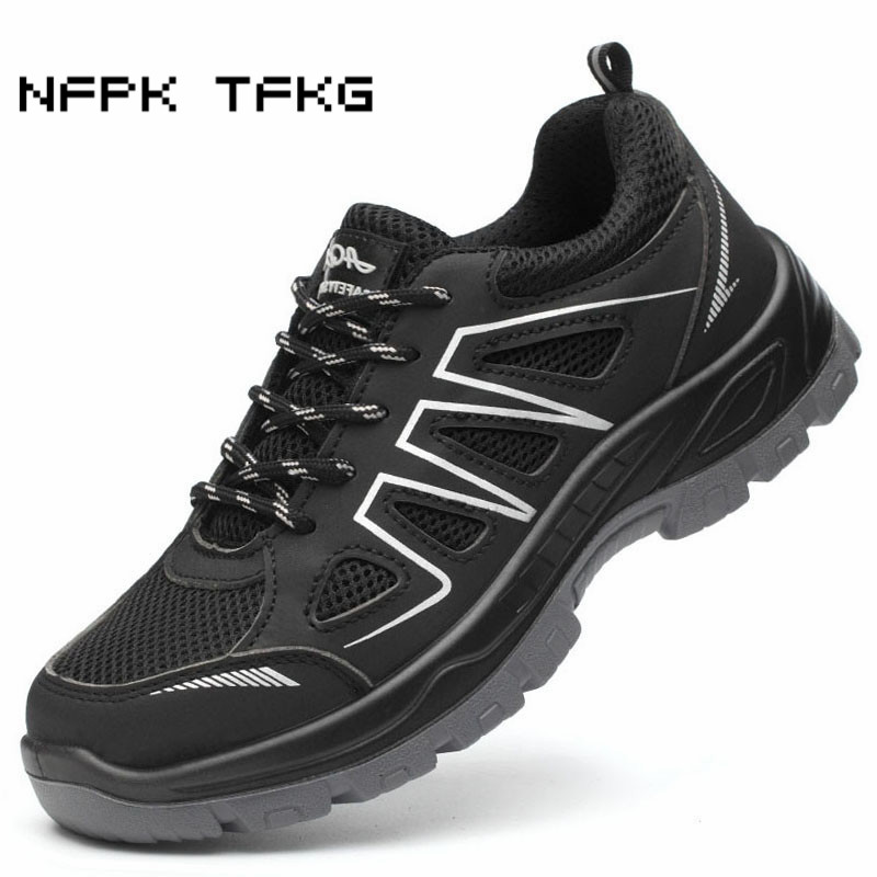 new arrival large size mens casual breathable steel toe caps work safety summer shoes anti puncture