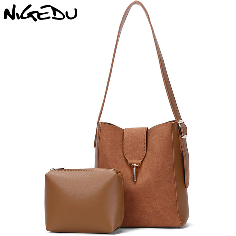 NIGEDU Matte leather Women Bucket Shoulder bag female Handbag Large Capacity Designer lady messenger bags Casual big Totes Brown women bag fashion casual totes bag 2 sets for girls pu leather handbag designer women s shoulder messenger bags lady bucket bag