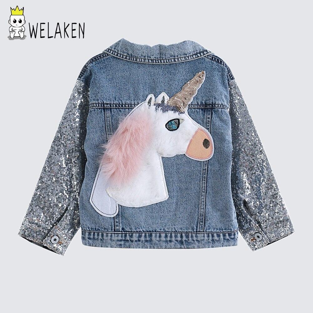 Welaken kinder Kleidung Einhorn Denim Mantel Für Mädchen Jacke Für Mädchen Oberbekleidung & Mäntel Kleinkind Denim Mädchen Jacken Mäntel