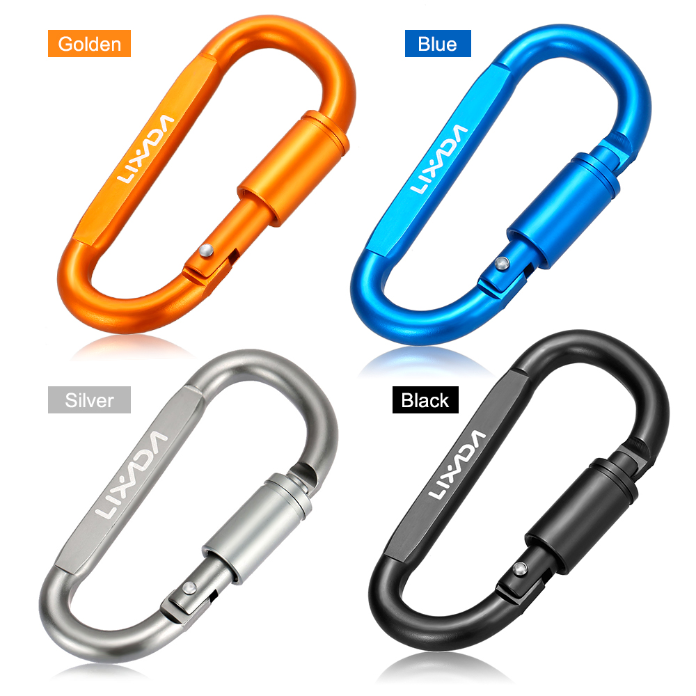 6Pcs Aluminum Alloy Clip Hanging Buckle Circle Round Carabiner Hook Keychain UL