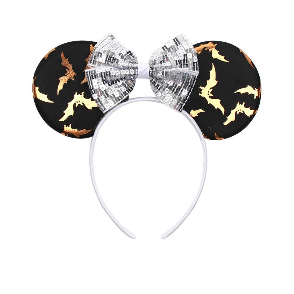 Хэллоуин Минни ободок с мышиными ушками для девочек с принтом блесток бант повязка для волос обруч для волос Танцевальная Вечеринка Детские аксессуары для волос