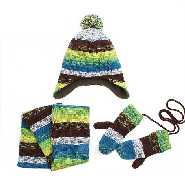 3PC Winter Children Hat Scarf Gloves Fashion Warm Stripe Girls Scarf ... 75f27bc48b95