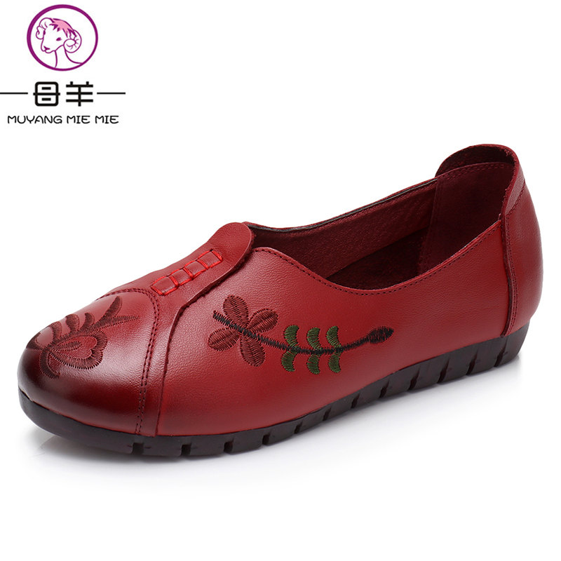 MUYANG MIE MIE Plus Size 35 - 42 Women Shoes Woman Genuine Leather Flat Shoes New Fashion Casual flower Shoes Women Flats