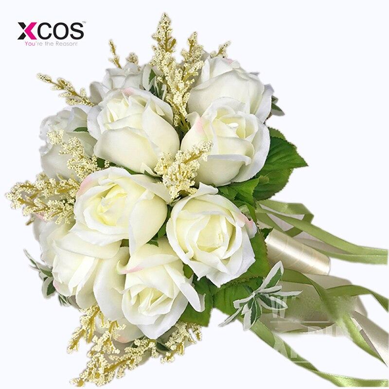 Bruidsboeket Hoge kwaliteit ivoorroos Gooi bruiloft 18 bloemen - Bruiloft accessoires - Foto 2