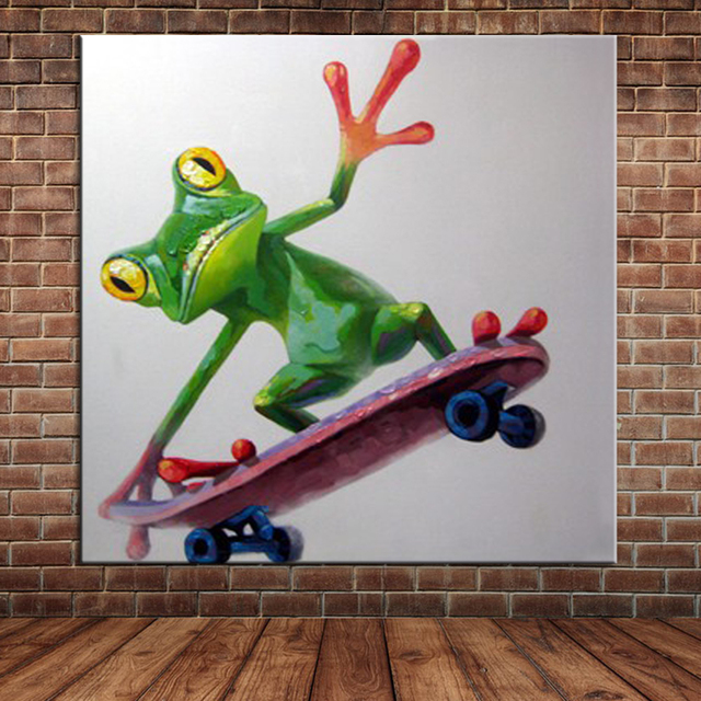 Skateboard Picture Frame aliexpress : buy funny frog play skateboard oil painting