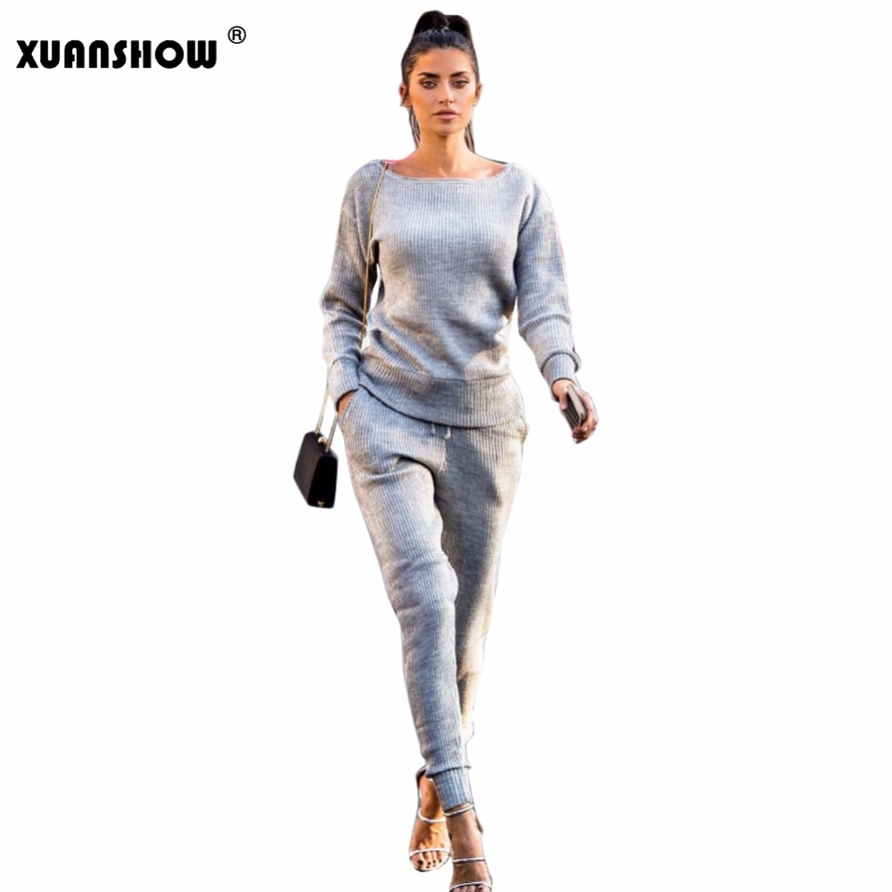 Quality In Industrious Xuanshow Women 2 Piece Set Spring Autumn Ottoman Fabric Stripe Solid Long Pant Suit Ladies Trousers Sets Superior