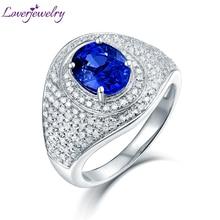 Luxury Design Real 14K White Gold Diamond Blue Sapphire Anniversary Ring for Women Stylish Fine Jewelry  Gift