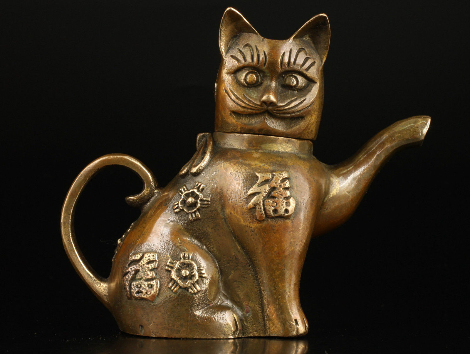 Collectable Chinese Pure Brass Carved Animal  Lovely Blessing Cat Recruiting Money Teapot Exquisite Small Statues