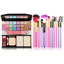 Makeup Set 24 Color Eye Shadow Palette Lip Gloss Powder+7pcs Makeup Brushes for Blush Eyeshadow Eyeliner Eyebrow Foundation