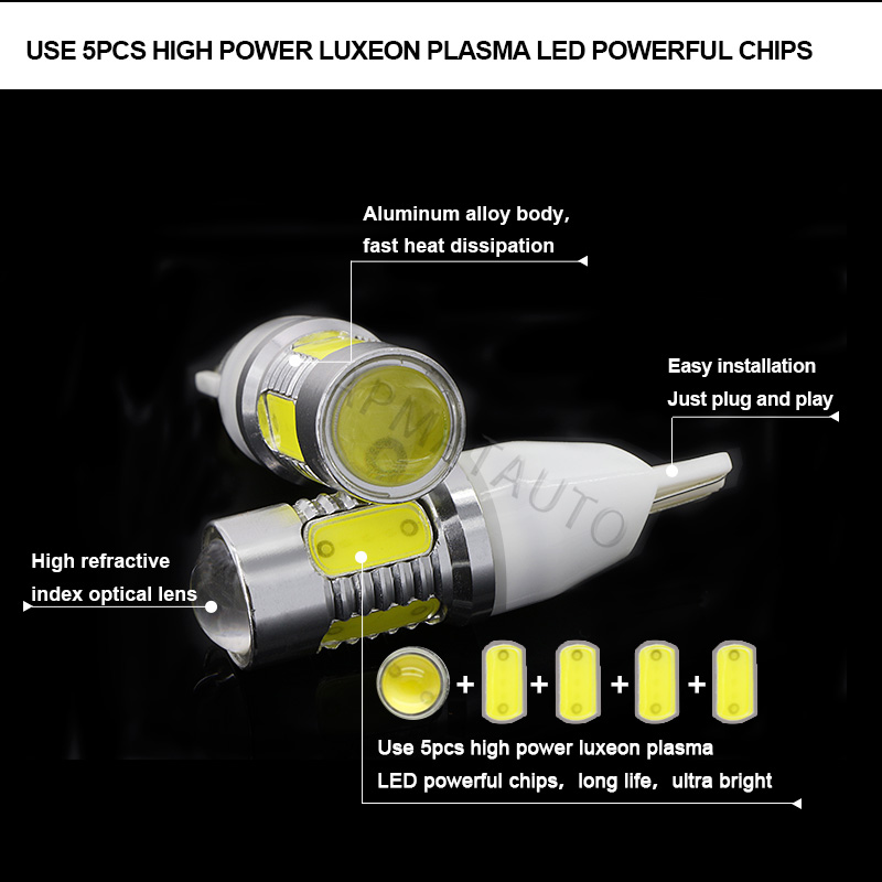 2 x T15 W16W No Error Plasma LED Projector Blub Tail Backup Reverse Lights For BMW 5 Series E60 E61 F10 F11 F07 Mini Cooper