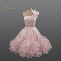 Sweetly Pink Short Prom Dress Cocktail Party Dresses Homecoming Wear With Flowers Beading Robe de soiree Custom Made