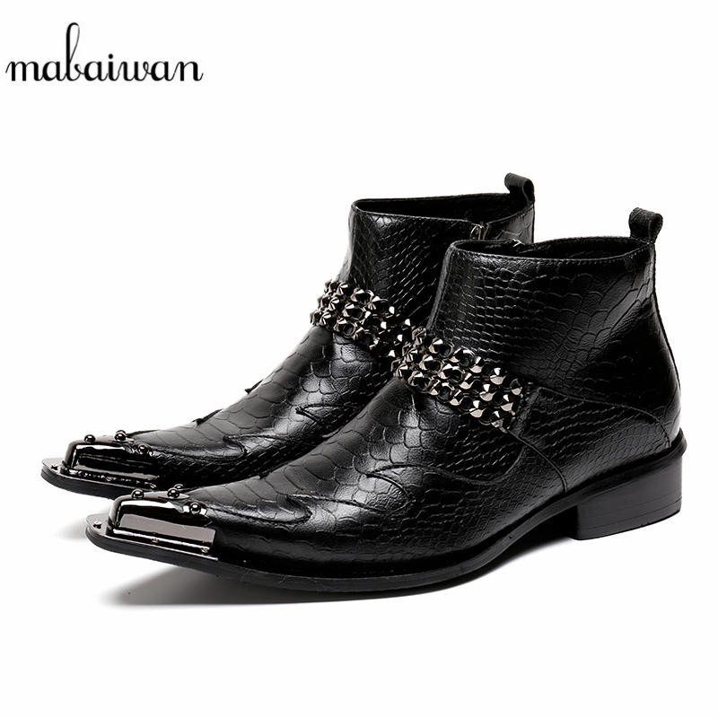 Mabaiwan Black Winter Ankle Boots Men Rivets Military Cowboy Boot Men Safety Shoes Pointed Toe Dress Flats Rubber Boots Footwear fashion genuine leather mens ankle boots pointed toe lace up wedding dress shoes safety shoes men military boots mans footwear