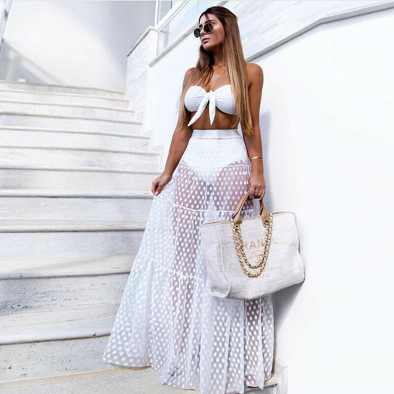 2019 Summer Sexy Women Beach Cover Ups Chiffon Dot Long Skirts Swimsuit Ladies Lace Mesh See-through Long Maxi Skirts Beachwear