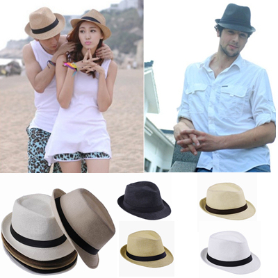 298f08d1a0b 2015 Hot Sale 6 Colors Cool Straw Hats Women Men Fedora Hat Trilby Gangster  Cap Summer Travel Fashion Sun Caps Beach Panama Hat