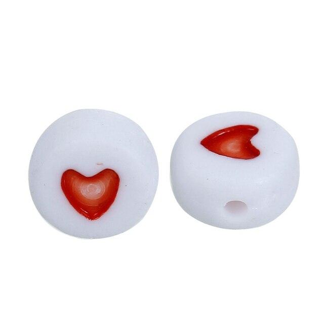 DoreenBeads 2016 Горячие Продажа Ювелирные Изделия бисер 50 Шт. Белый и Красный Любовь сердце Акриловые Плоские Круглые Бусины для DIY Craft 7 мм Диаметр, отверстие: 1 мм