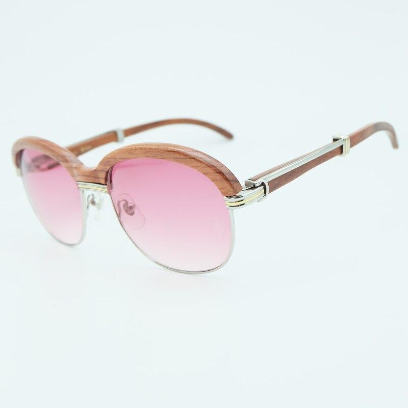 Holz Sonnenbrille Rahmen Holz Sonnenbrille Männer Rosa Sonnenbrille für Herren Fashion Shades Sonnenbrille Frauen Urlaub Zubehör - 5