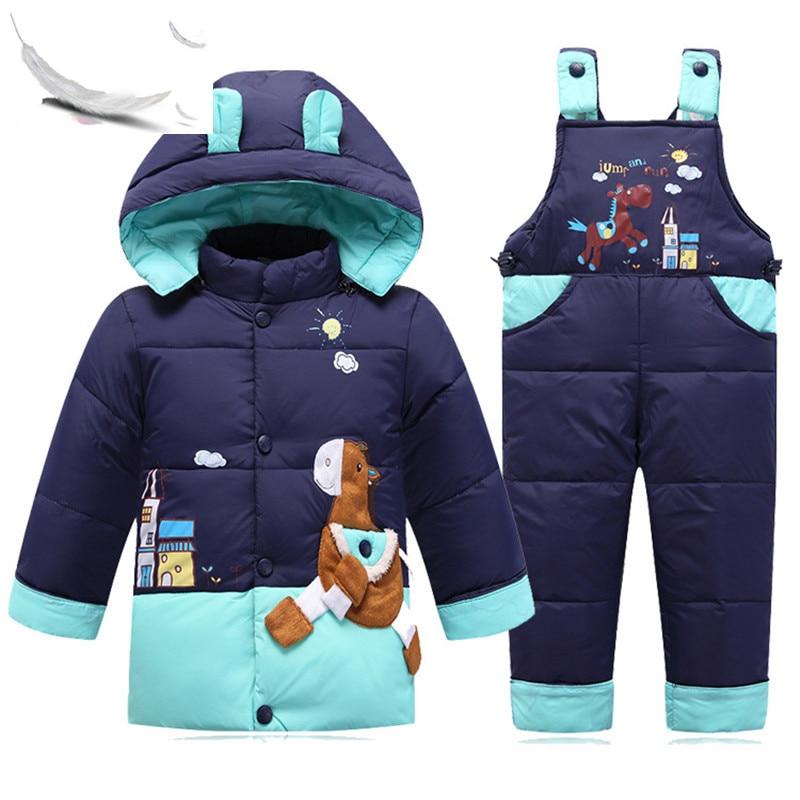 children Snowsuits kids boys girls boy girl white duck down cartoon ski baby Down Jacket Suit Jackets 004-6 russia winter boys girls down jacket boy girl warm thick duck down