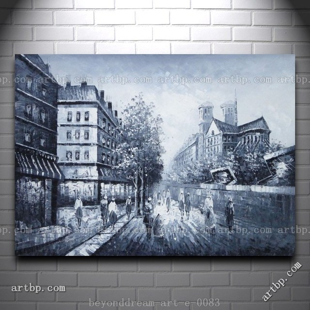 Black And White Paris Street Scene Oil Painting Impressionism Famous Realistic Paintings Wall Frame