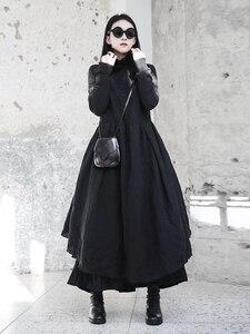 Image 2 - [EAM] 2020 New Spring  Winter Ruffled Collar Long Sleeve Black Irregular Big Hem Fold Loose Long Dress Women Fashion Tide JI098