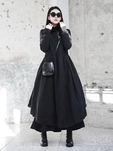 Image 2 - [Eam] 2020春の新作冬フリル襟長袖黒不規則なビッグ裾フォールロングドレス女性ファッション潮JI098