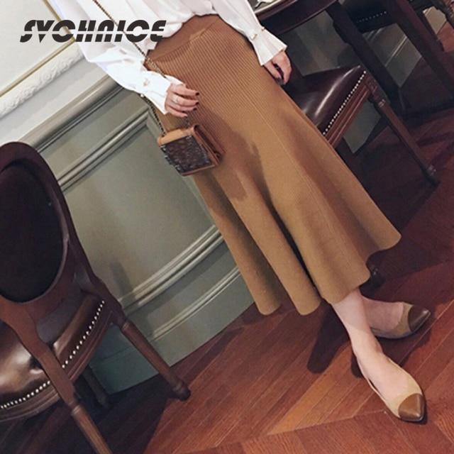 Новый осень 2017 г. теплая вязаная юбка Для женщин макси Юбки для женщин Высокая Талия Плиссированные Длинные Юбка-пачка Женская Черный, серый