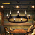 American country samurai retro light industrial Loft restaurant Round table candle droplight sitting room