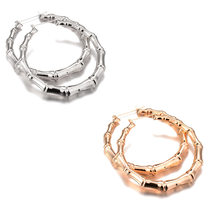 adbab7a7e 1/Pair New Arrival Trendy Bamboo Hoop Earrings Women Female Gold Silver  Color Color Classic Jewelry Gifts