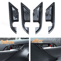 4pcs Set Carbon Fiber Color Car Interior Door Handle Bowl Cover Trim Decal Frame Fit For