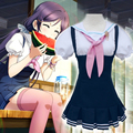 new love live Tojo Nozomi cosplay women costume Lovely cos navy anime clothing summer student dress