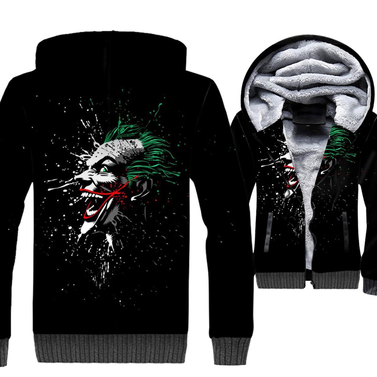 New Hot Clown Jacket Male 2019 Winter Thick Hoodie Hip Hop Zipper Anime Jackets Streetwear Unisex 3D Print Tracksuit Gothic Coat